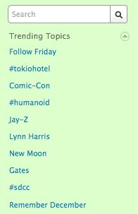 Twitter trending topics sidebar
